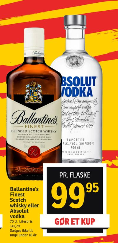 Ballantine's Finest Scotch whisky eller Absolut vodka