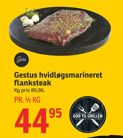 Gestus hvidløgsmarineret flanksteak