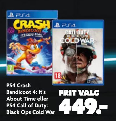PS4 Crash Bandicoot 4: It's About Time eller PS4 Call of Duty: Black Ops Cold War