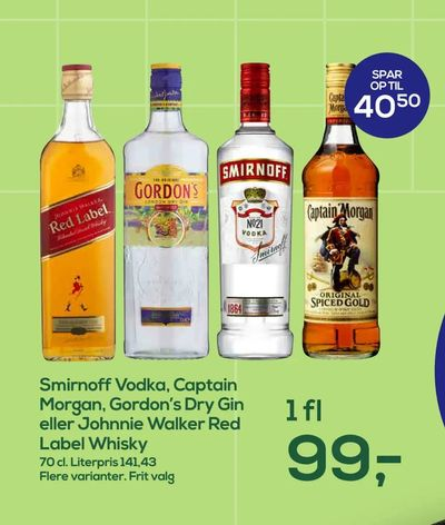 Smirnoff Vodka, Captain Morgan, Gordon's Dry Gin eller Johnnie Walker Red Label Whisky