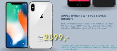 Apple iphone x - 64gb silver (brugt)