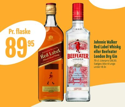 Johnnie Walker Red Label Whisky eller Beefeater London Dry Gin