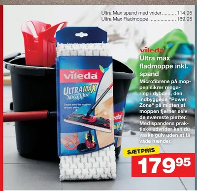 Ultra max fladmoppe inkl. spand
