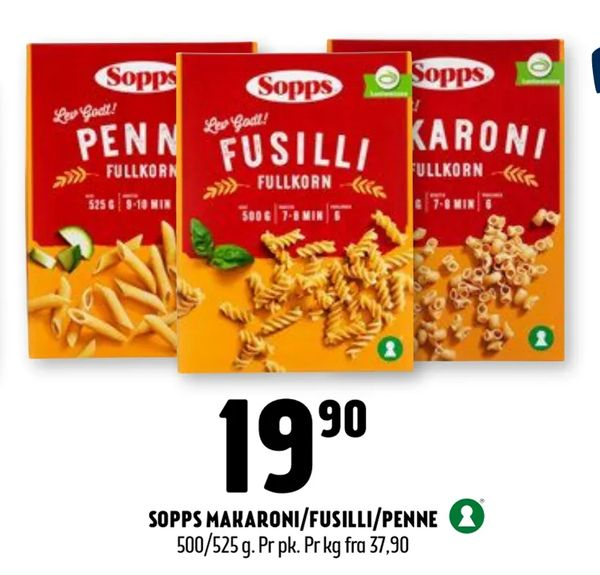 Deals on Sopps makaroni/fusilli/penne from Coop Prix at kr19,90