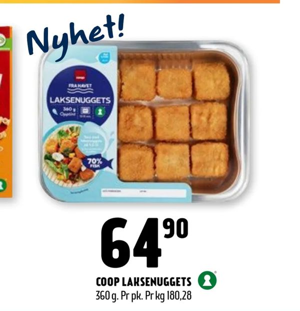 Deals on Coop laksenuggets from Coop Prix at kr64,90