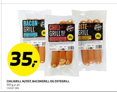 Chiligrill m/ost, bacongrill og ostegrill