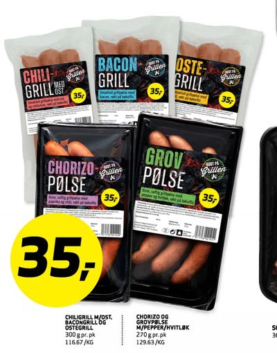 Chili grill m/ost bacongrill og ostegrill