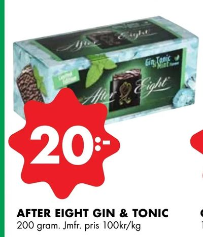 After eight gin & tonic